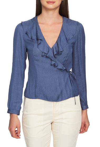 Imbracaminte Femei 1State Dot Jacquard Wrap Top ANTIQUE BLUE