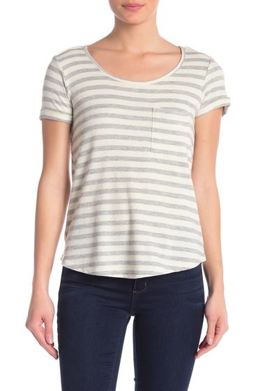 Imbracaminte Femei Democracy Short Sleeve Twist Back Stripe T-Shirt HG HEATHER