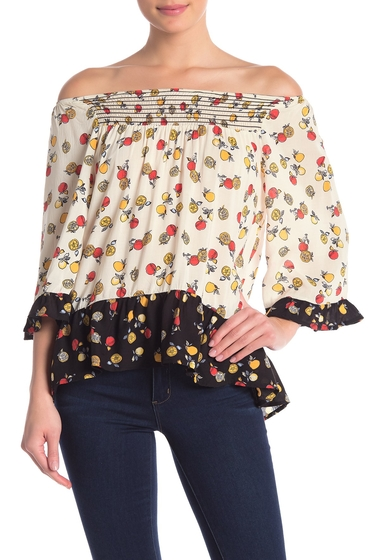Imbracaminte Femei Democracy Printed 34 Sleeve Flared Sleeve Top HTPR HONEY