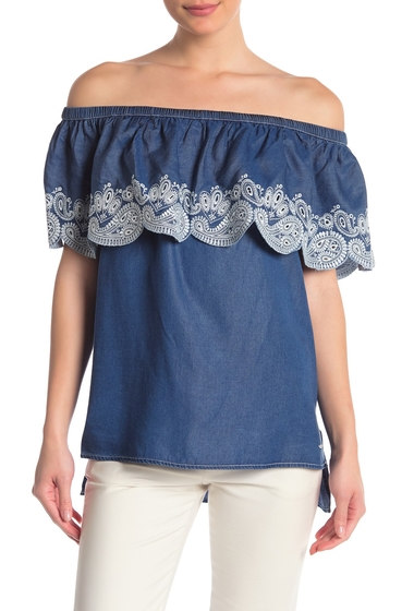 Imbracaminte Femei DKNY Off-the-Shoulder Embroidered Eyelet Top RINSE DENI
