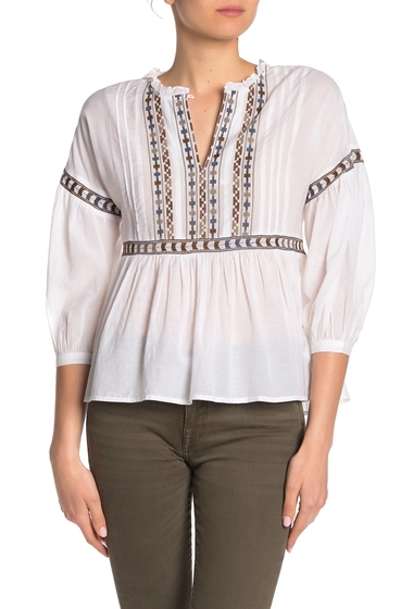Imbracaminte Femei Lucky Brand Embroidered Peasant Top WHITE MULT