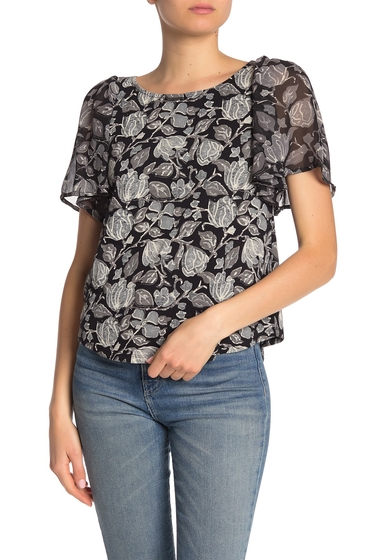 Imbracaminte Femei Lucky Brand Flutter Sleeve Mixed Media Top BLACKCREA