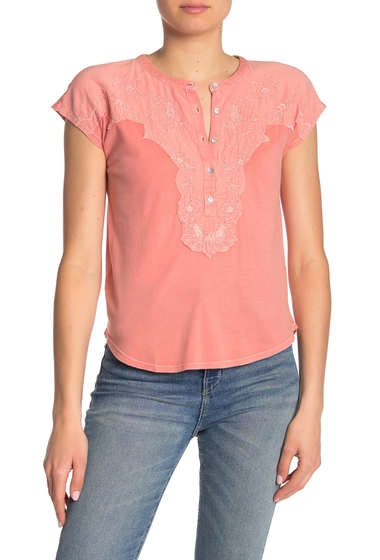 Imbracaminte Femei Lucky Brand Embroidered Applique Cap Sleeve Henley CORAL