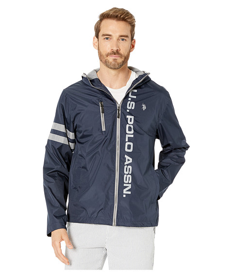 Imbracaminte Barbati US Polo Assn Hooded Windbreaker w Striped Sleeves Classic Navy