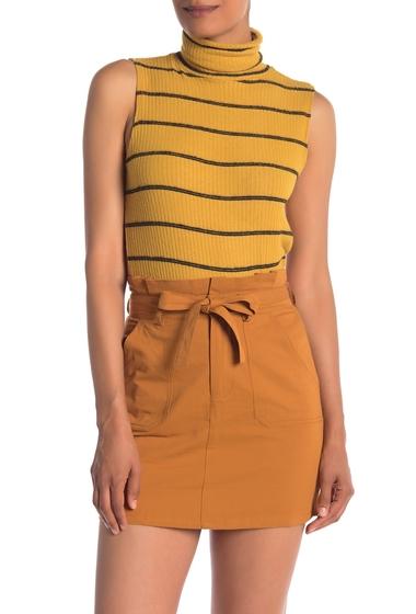 Imbracaminte Femei Know One Cares Sleeveless Stripe Knit Turtleneck Top MUSTARD