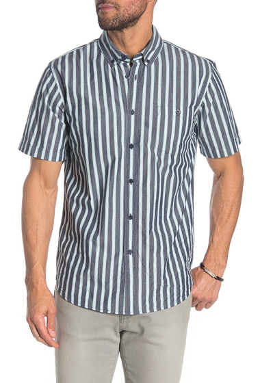 Imbracaminte Barbati Obey Kennedy Colorblock Stripe Short Sleeve Regular Fit Shirt BLUE MULTI STRIPE