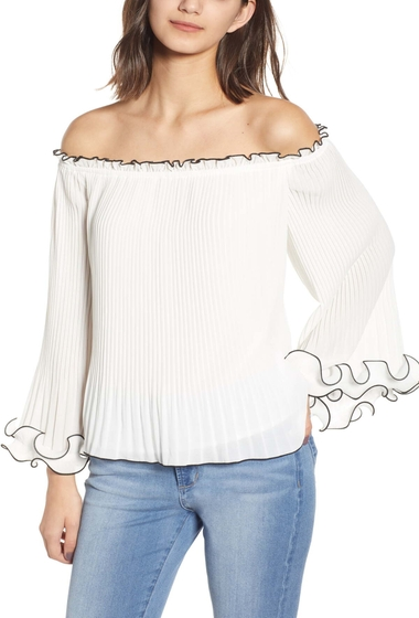 Imbracaminte Femei endless rose Off-the-Shoulder Pleated Chiffon Blouse WHITE