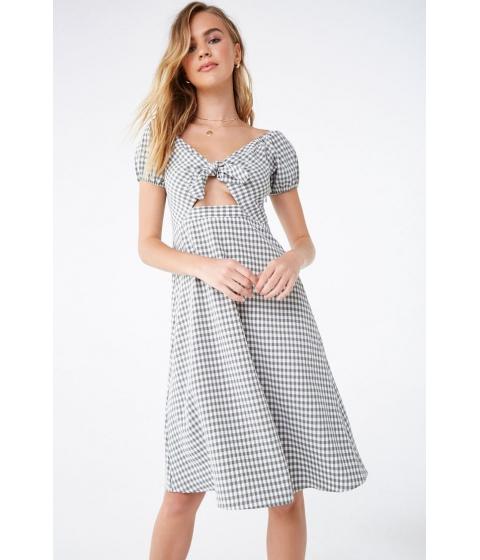 Imbracaminte Femei Forever21 Seersucker Gingham Tie-Front Dress SAGEWHITE