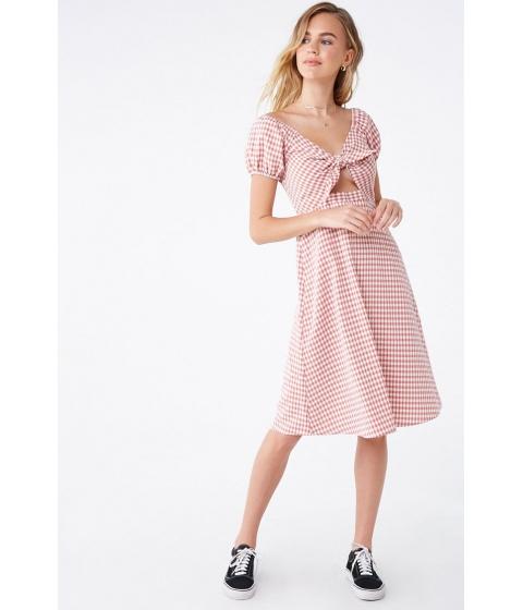 Imbracaminte Femei Forever21 Seersucker Gingham Tie-Front Dress REDMULTI
