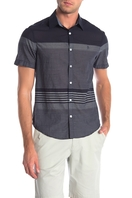 0e2f8797 Short Sleeve Stripe On Lawn Slim Fit Shirt - DARK SAPPHIRE. Original Penguin