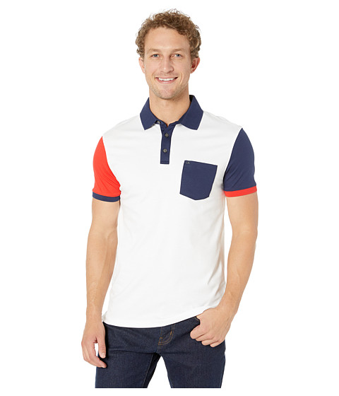 Imbracaminte Barbati Calvin Klein Short Sleeve Color Blocked Polo White Combo