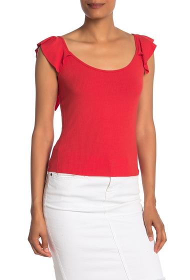 Imbracaminte Femei Socialite Scoop Neck Flutter Sleeve Tank Top POPPY RED