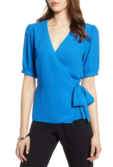 Imbracaminte Femei Halogen Wrap Top Regular Plus Size BLUE VICTORIA