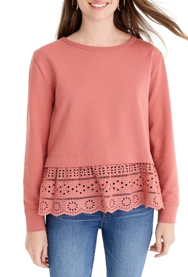 Imbracaminte Femei J Crew Eyelet Hem Sweatshirt Regular Plus Size RUSTY CLAY