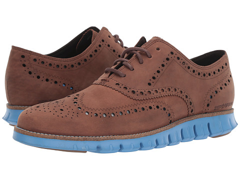 Incaltaminte Barbati Cole Haan Zerogrand Wingtip Oxford Leather Dark Coffee LeatherBrazilian SandPacific Coast