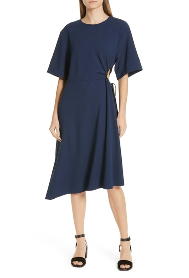 Imbracaminte Femei See by Chloe See by Chlo Asymmetrical Tie Cinch Waist Dress NAVY