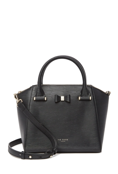 Genti Femei Ted Baker London Cala Textured Leather Satchel BLACK