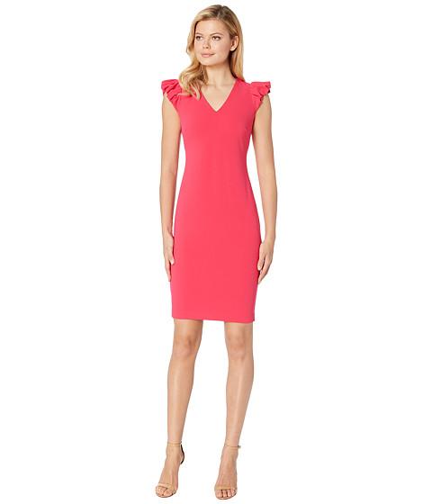 Imbracaminte Femei Calvin Klein Puff Sleeve V-Neck Sheath Dress CD8C13GY Lipstick