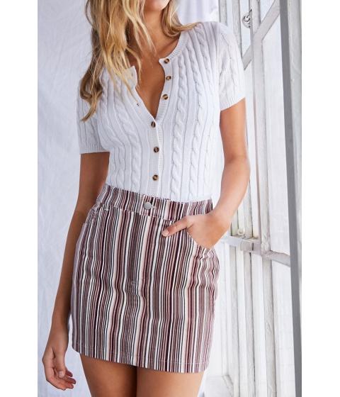 Imbracaminte Femei Forever21 Corduroy Striped Mini Skirt BURGUNDYIVORY