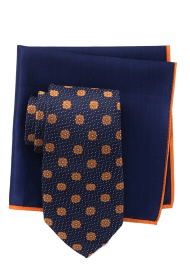 Accesorii Barbati Ted Baker London Dotted Flower Silk Tie Pocket Square Set NAVY