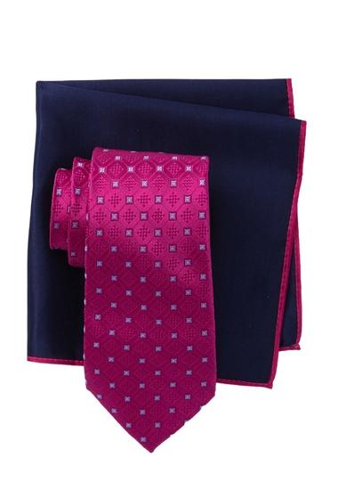 Accesorii Barbati Ted Baker London Frame Square Silk Tie Pocket Square Set FUSCHIA