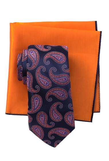 Accesorii Barbati Ted Baker London Silk Tonal Pine Tie Pocket Square Set ORANGE