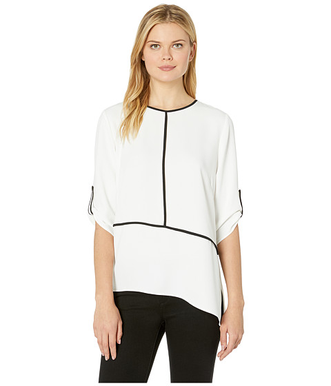 Imbracaminte Femei Calvin Klein Roll Sleeve Angle Bottom Blouse with Piping Soft White