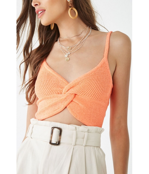Imbracaminte Femei Forever21 Ribbed Twist-Front Cami NEON ORANGE