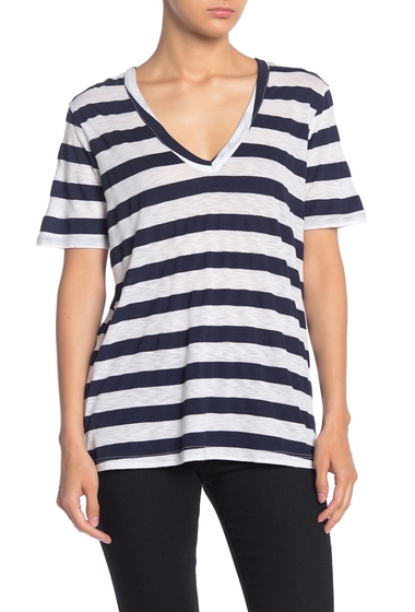 Imbracaminte Femei Splendid Striped V-Neck T-Shirt NAVYWHITE