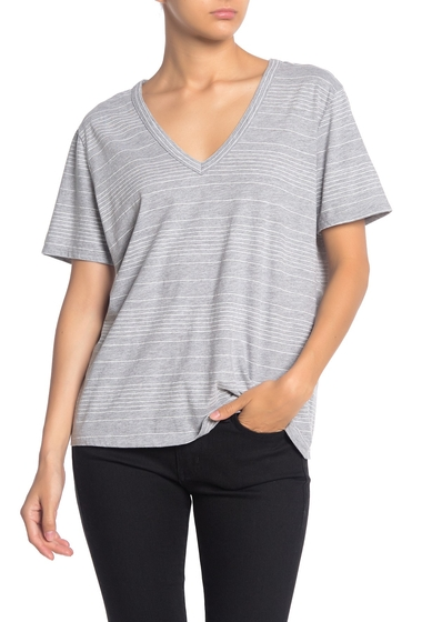 Imbracaminte Femei Splendid Striped V-Neck T-Shirt HEATHER GREY