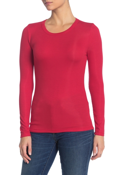 Imbracaminte Femei Socialite Long Sleeve Knit T-Shirt BRIGHT RED