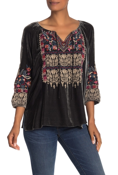Imbracaminte Femei Johnny Was Claude Embroidered Velvet Peasant Blouse STEEL GREY
