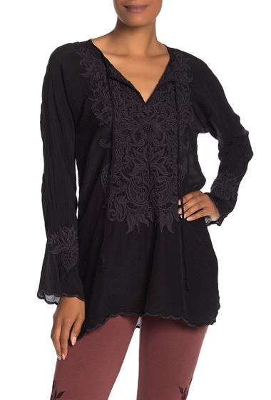 Imbracaminte Femei Johnny Was Tania Embroidered Long Sleeve Tunic SANDED BLACK