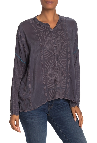 Imbracaminte Femei Johnny Was Rango Embroidered Long Sleeve Top GRAPHITE