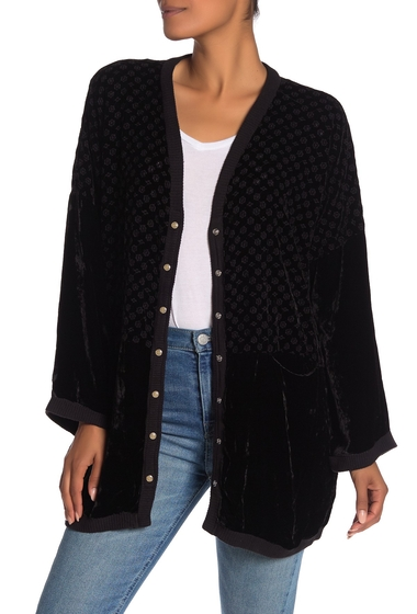 Imbracaminte Femei Johnny Was Sabra Embroidered Velvet Longline Cardigan BLACK EDGE