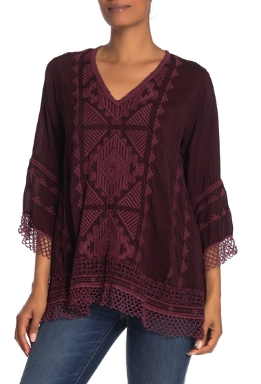 Imbracaminte Femei Johnny Was Renee Crochet Lace Trim Embroidered Top BLACK PLUM