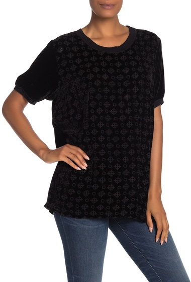 Imbracaminte Femei Johnny Was Portia Embroidered Velvet Short Sleeve Top BLACK EDGE