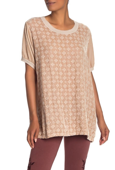Imbracaminte Femei Johnny Was Portia Embroidered Velvet Short Sleeve Top MINERAL