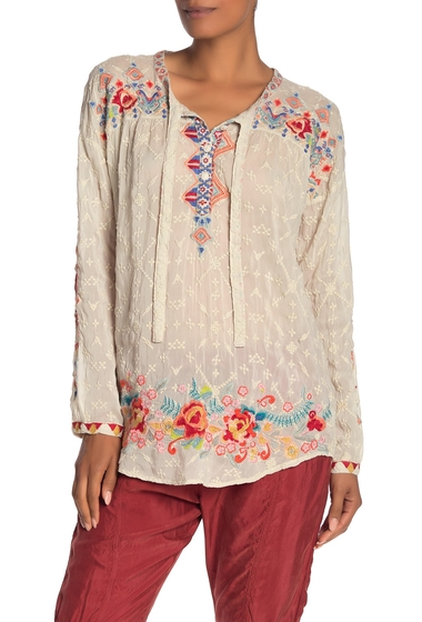 Imbracaminte Femei Johnny Was Gina Embroidered Long Sleeve HighLow Blouse SHELL