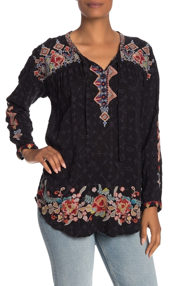 Imbracaminte Femei Johnny Was Gina Embroidered Long Sleeve HighLow Blouse SANDED BLACK