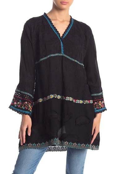 Imbracaminte Femei Johnny Was Ridden Tiered Embroidered Long Sleeve Tunic BLK