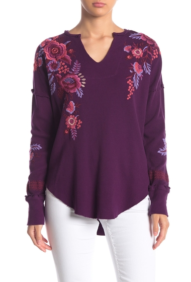 Imbracaminte Femei Johnny Was Marcella Drop Shoulder Floral Embroidered Thermal Top PLB