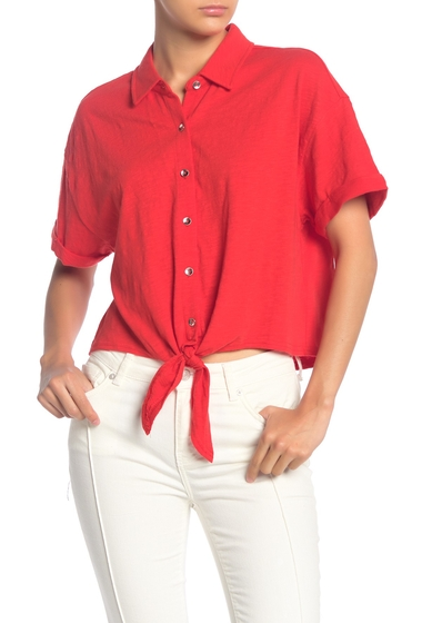 Imbracaminte Femei Splendid Tie Hem Button Front Top AMORE RED
