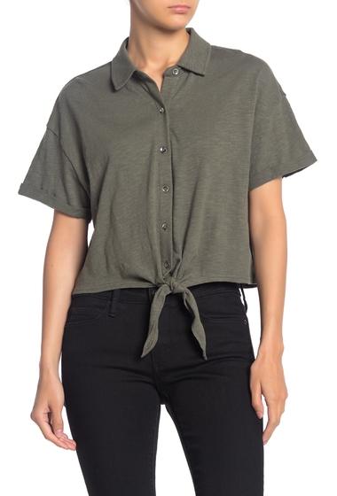 Imbracaminte Femei Splendid Tie Hem Button Front Top MILITARY OLIVE