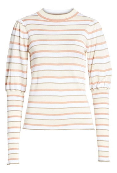Imbracaminte Femei See by Chloe Stripe Puff Sleeve Sweater CRYSTAL WHITE