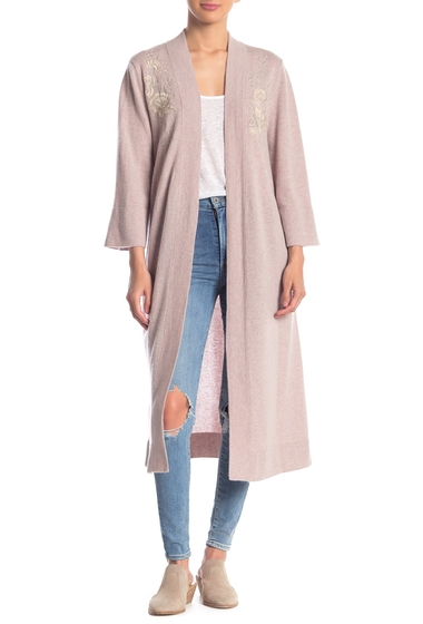 Imbracaminte Femei Johnny Was Long Floral Embroidered Cashmere Kimono OAT