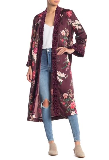 Imbracaminte Femei Johnny Was Velvet Trim Floral Print Kimono MTI