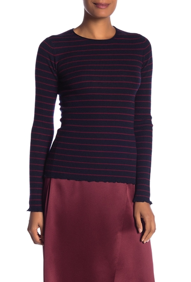 Imbracaminte Femei Vince Striped Ribbed Cashmere Long Sleeve Tee COASTALMERLOT
