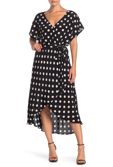 Imbracaminte Femei Sanctuary Senna Faux Wrap HighLow Hem Dress CHERRY BLOSSOM DOT