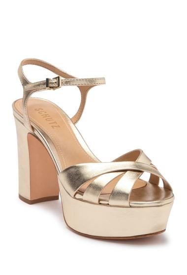 Incaltaminte Femei Schutz Keefa Leather Platform Sandal PLATINA